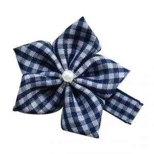 Pearl Blossom Hair Clip Navy and White